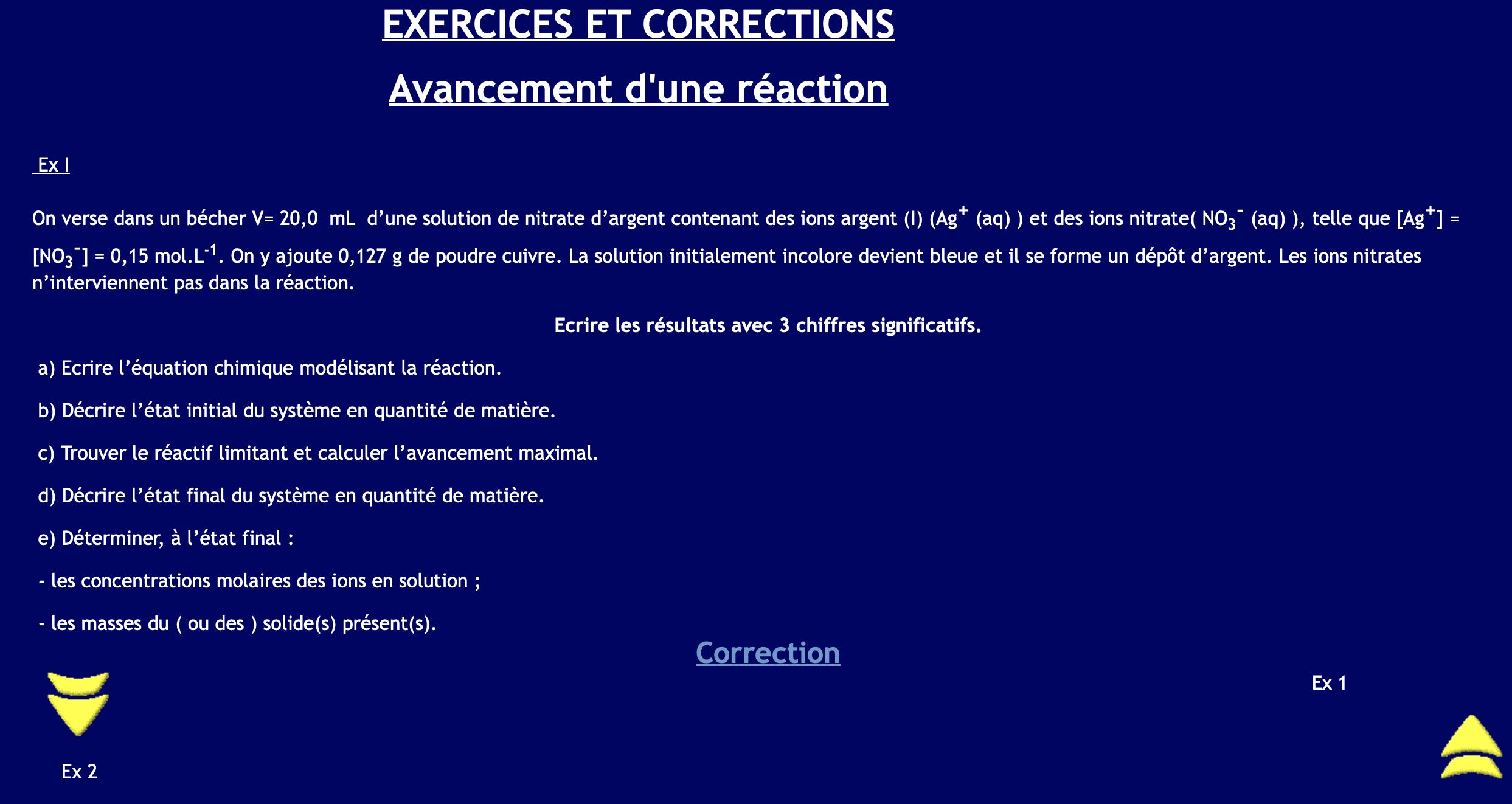 Exercices sur l'avancement (avec correction)