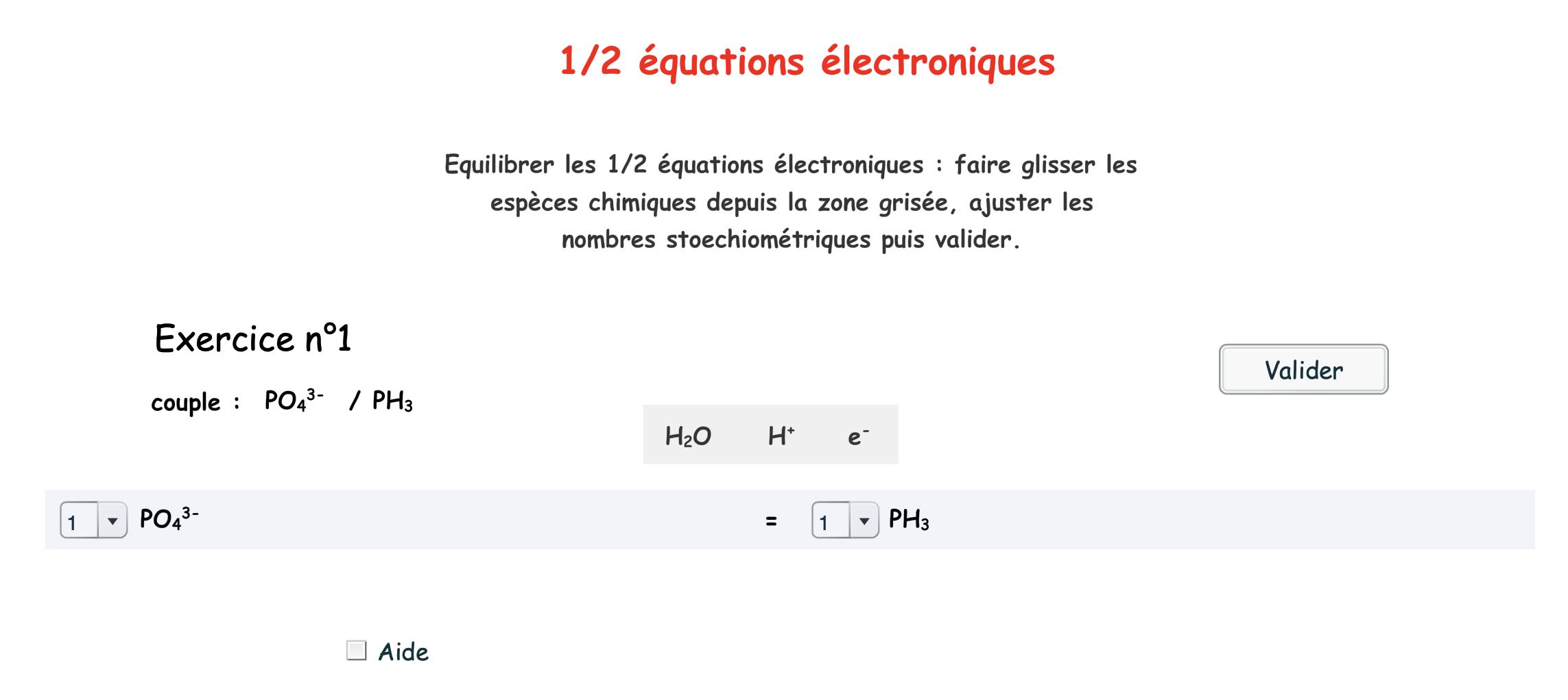 Equilibrer des demi-équations d'oxydoréduction