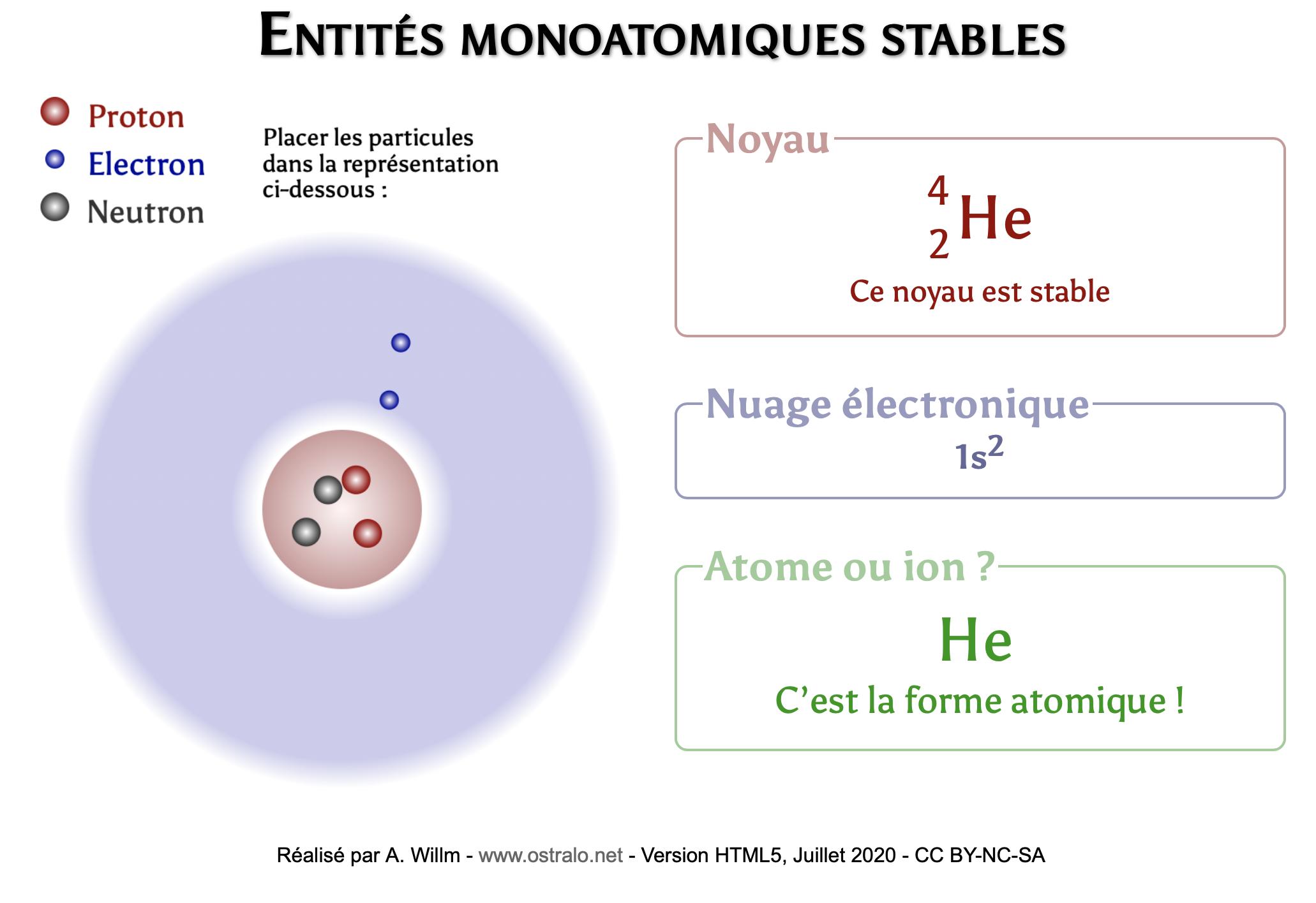 Entités monoatomiques (symbole du noyau, charge)