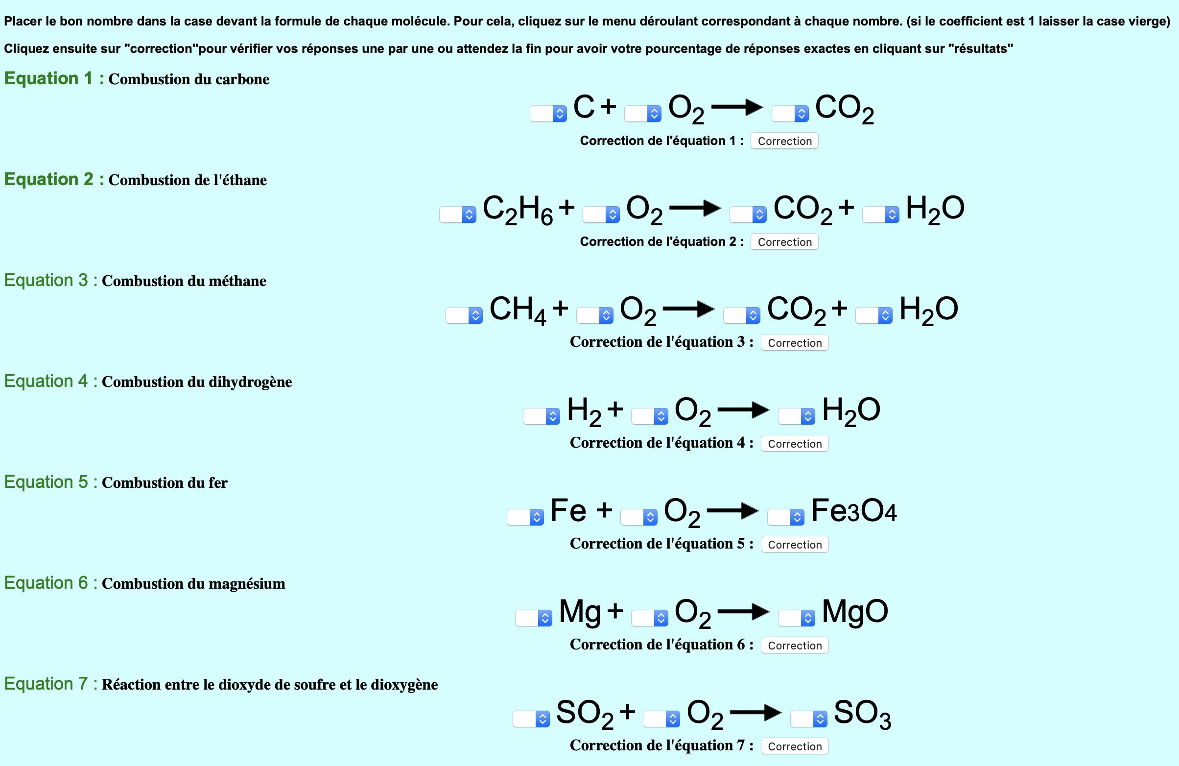 Equilibrer des équations chimiques (1)