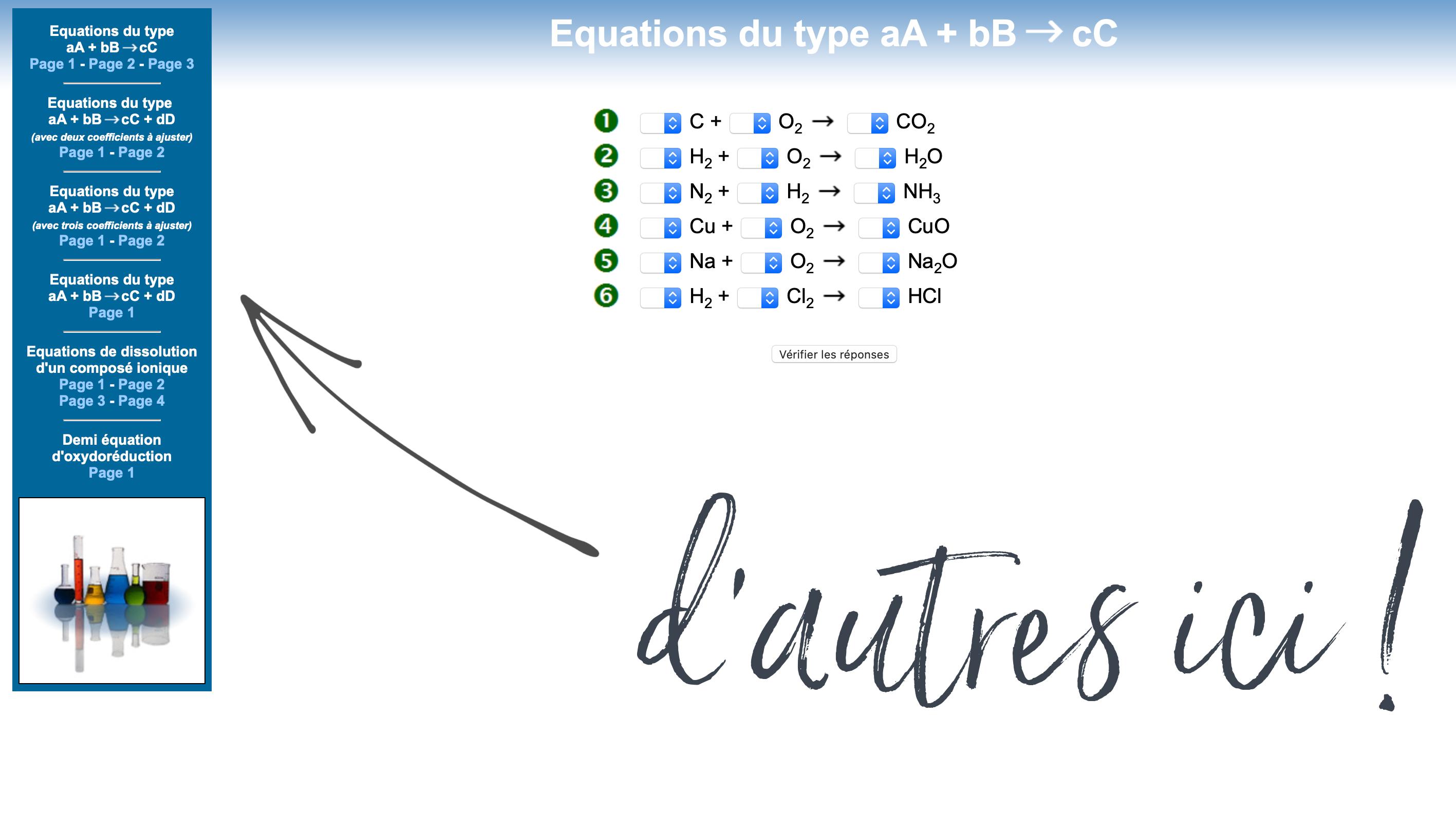 Equilibrer des équations chimiques (2)