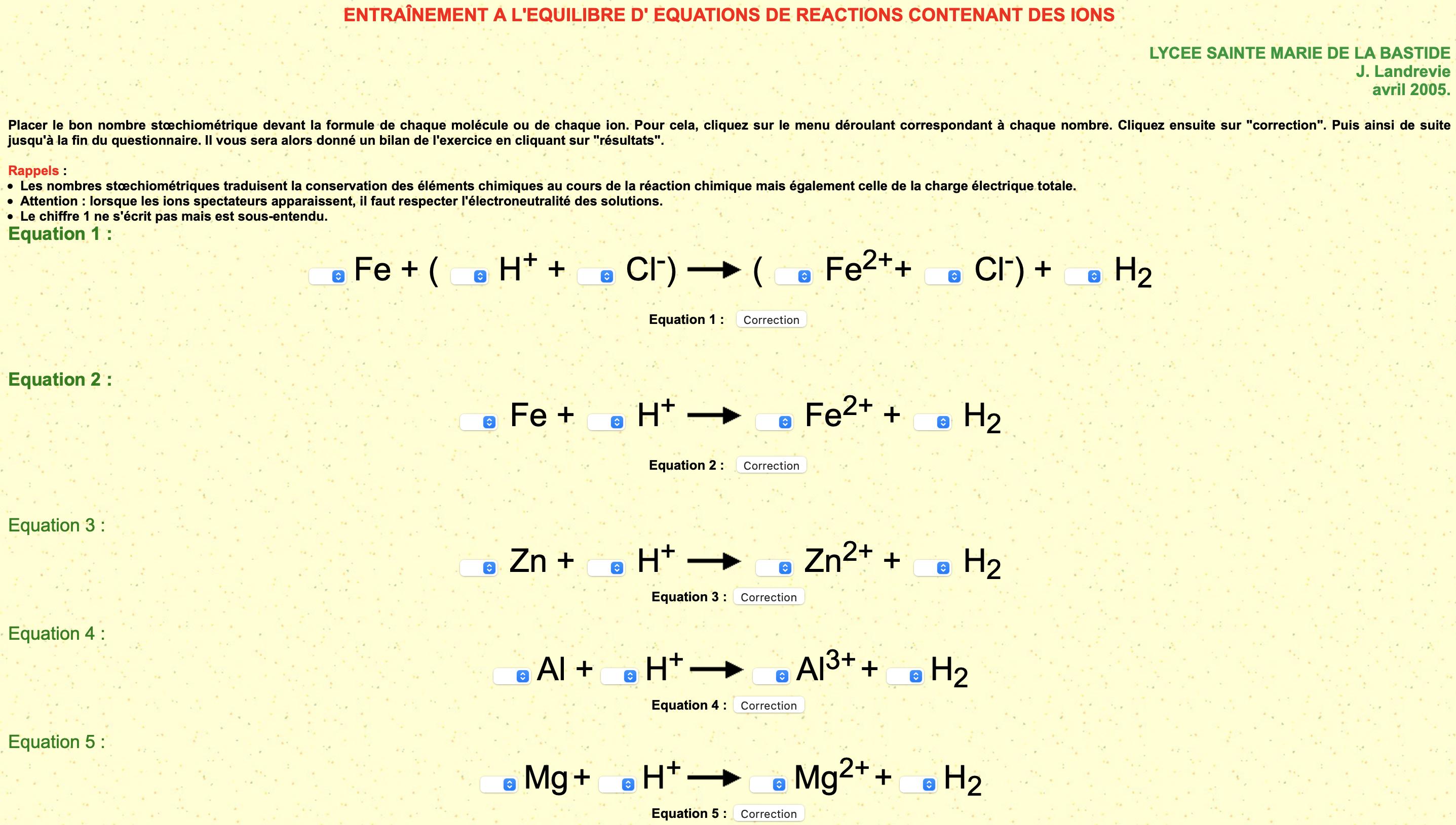 Equilibrer des équations chimiques avec des ions (3)